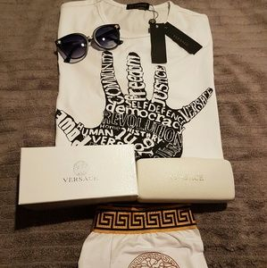 Versace shirt glasses and boxers